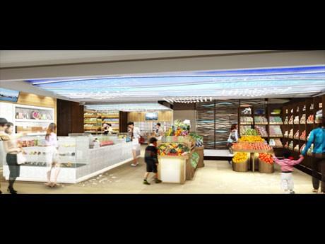 銘菓、粉モノ、魚類、肉類、野菜などを展示販売する1階イメージ