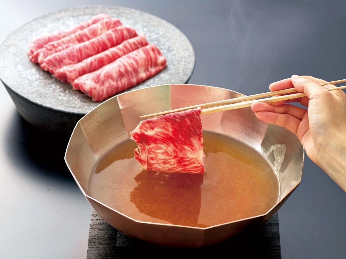 「国産牛テールスープ使用 上州和牛サーロイン低温しゃぶしゃぶ」