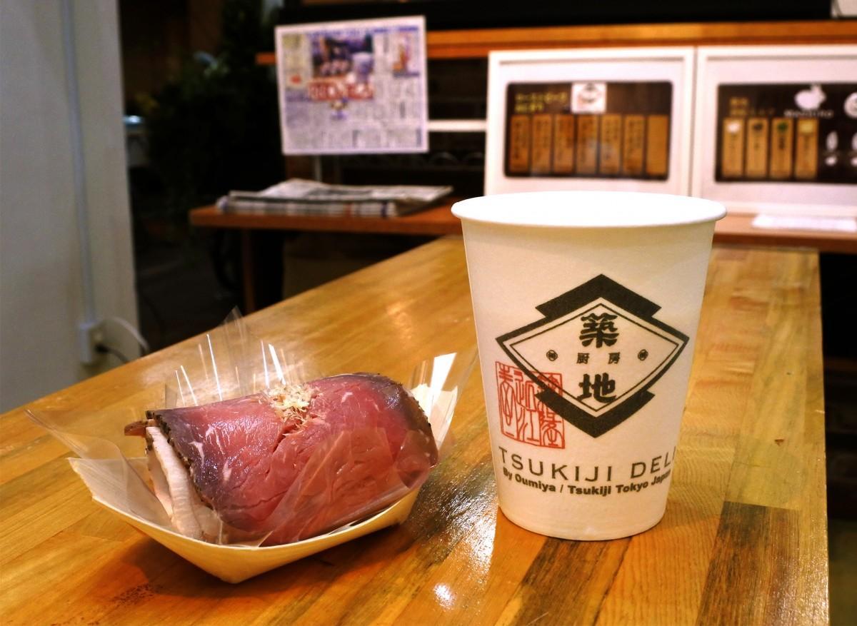 「ローストビーフおにぎり」と「築地酒粕ミルク MASHIRO」v