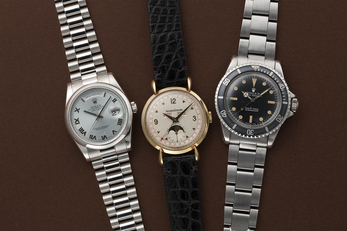 ロレックス「デイデイト Ref.118206」(左)、ジャガールクルト「トリプルカレンダームーン」(中)、ロレックス「サブマリーナ Ref.5513」(右)
