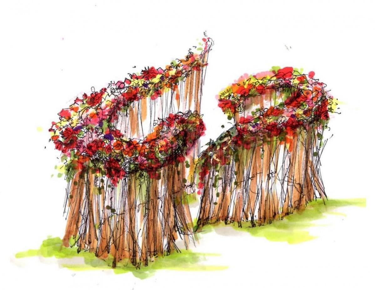 生花でデザインした大型フラワーオブジェの完成イメージ