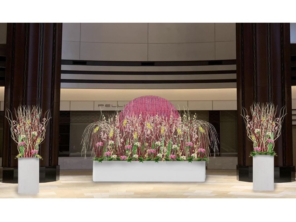 メイン会場のアトリウムを飾る「Flower sunrise ~花の力で明るい迎春を~」