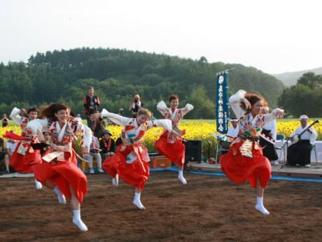 ヒマワリ畑の中で熱演する「Co.山田うん」のメンバー