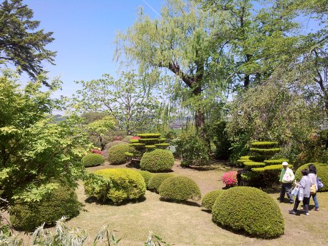 八戸「南部氏庭園」が春の開園 快晴の下、散策楽しむ