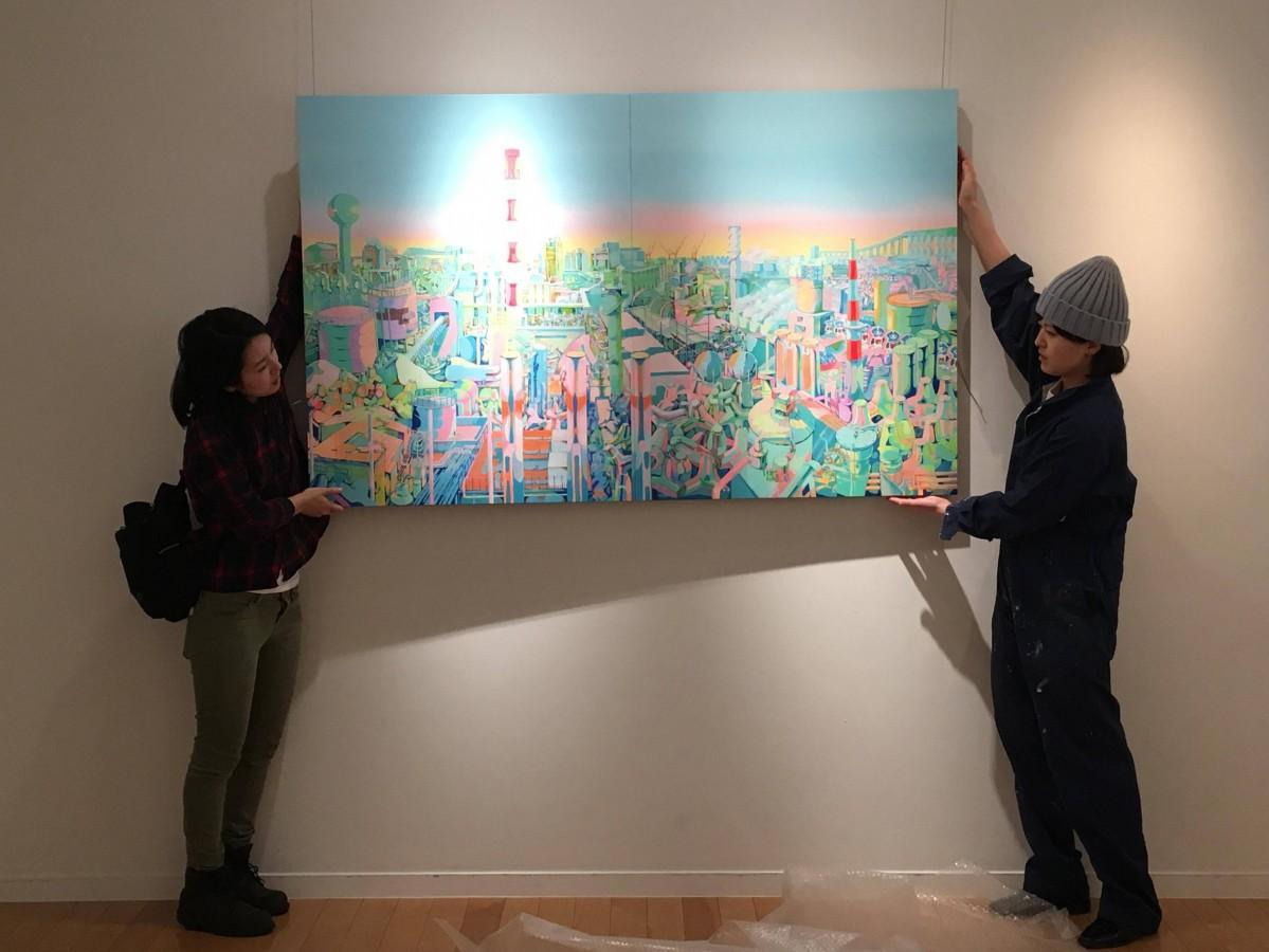 「八戸・工場アート展」準備風景