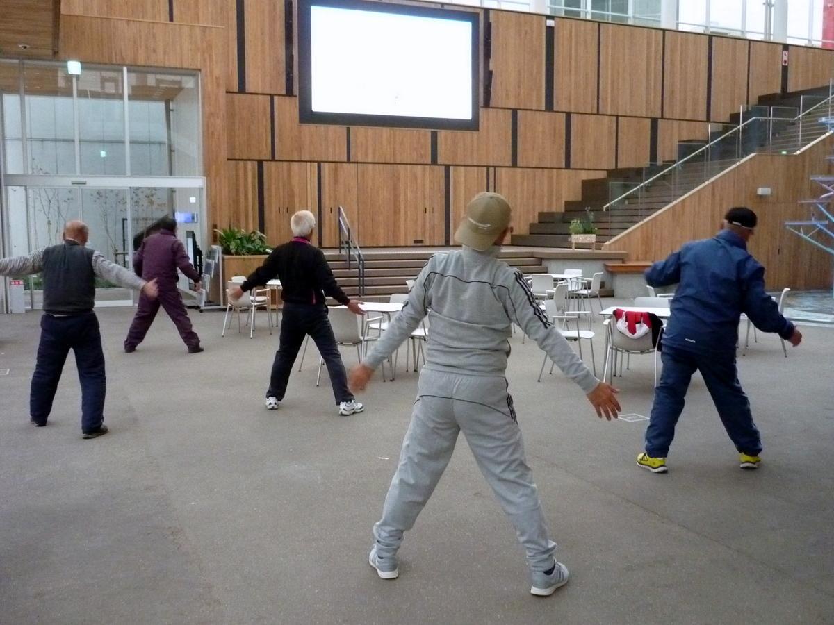 マチニワで行っているラジオ体操
