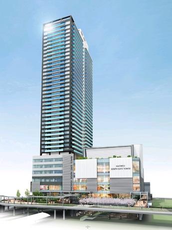 建設中の再開発ビルの外観(画像提供:八王子市南口再開発推進室)