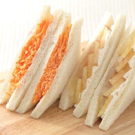 「サンドイッチハウス メルヘン」(散田町)が出品する八王子さんのニンジンを使った「にんじんサラダサンドウィッチ」