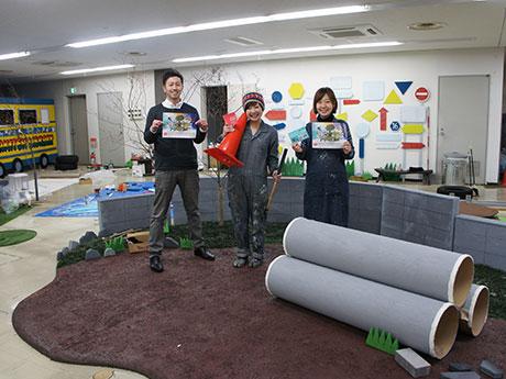 「AKITEN PARK」の開催に向けて準備をすすめる及川さん(左)、YORIKOさん(中央)と「AKITEN」事務局長のYamamoto Harucaさん(右)