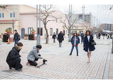 南大沢駅周辺で行われた撮影の模様