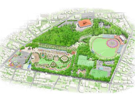 メイン会場となる富士森公園のイメージ図
