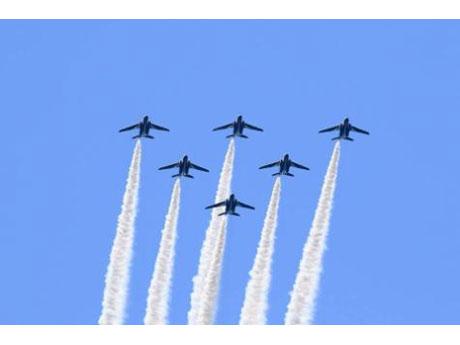 「全国都市緑化はちおうじフェア」にオープニングセレモニーに合わせて飛行する「ブルーインパルス」