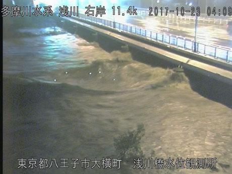 大雨の影響で浅川の水位が上昇する場面も(国土交通省京浜河川事務所ホームページより許可を得て転載)