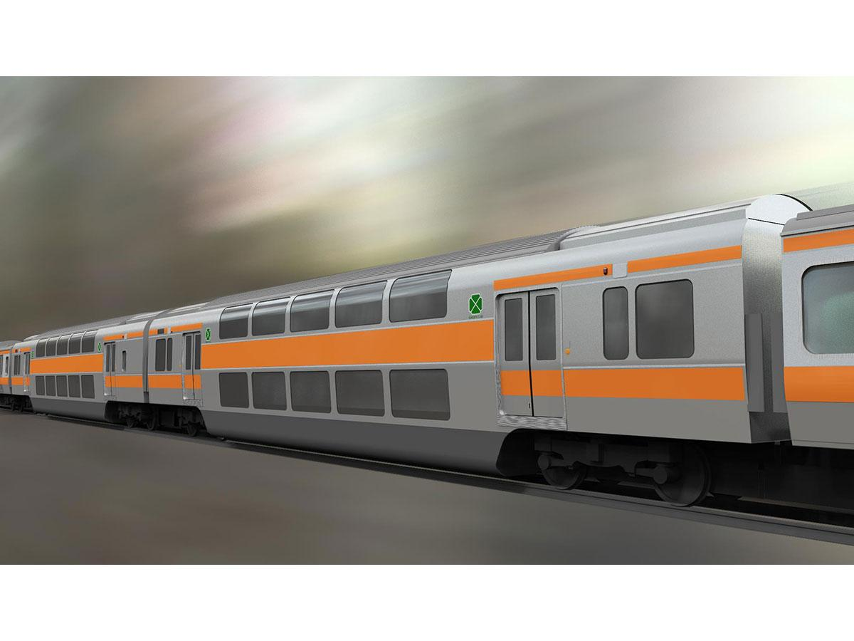 新たに公開されたグリーン車のイメージでは、扉が両引きになった(画像提供=JR東日本)