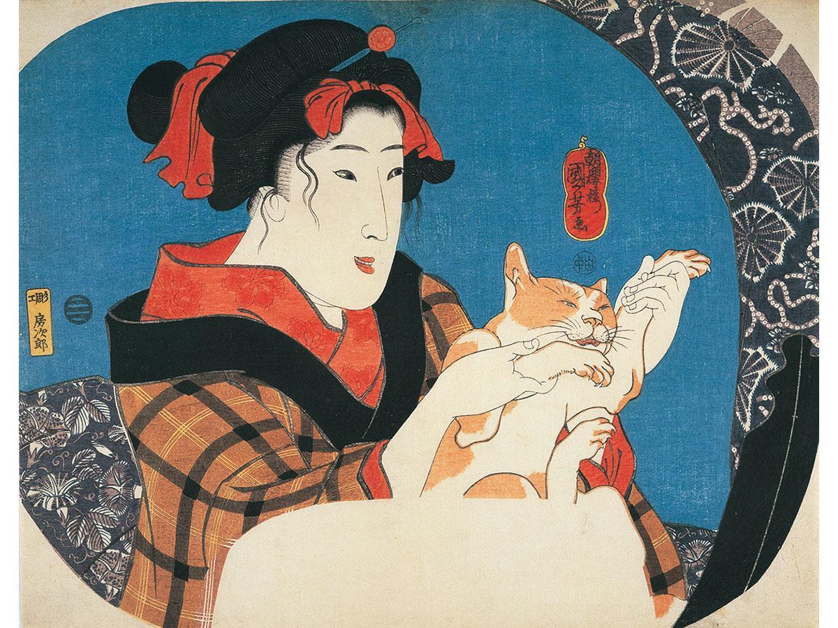 歌川国芳「鏡面シリーズ 猫と遊ぶ娘」弘化元~2年(1844~45年)ごろ