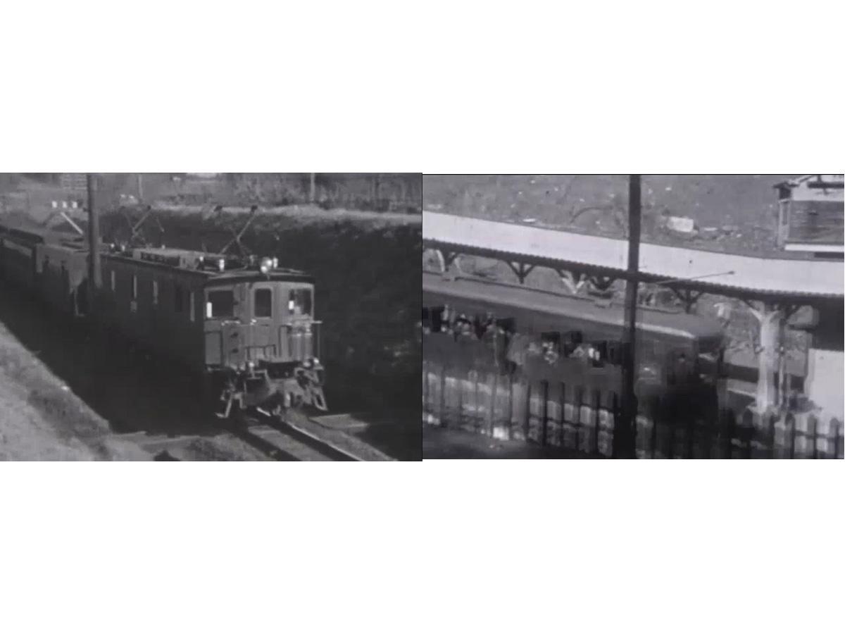 「幻の八王子の鉄道映像」では明治初期の中央線(左)や高尾山ケーブルカー(右)の映像を上映(写真提供=八王子市郷土資料館)