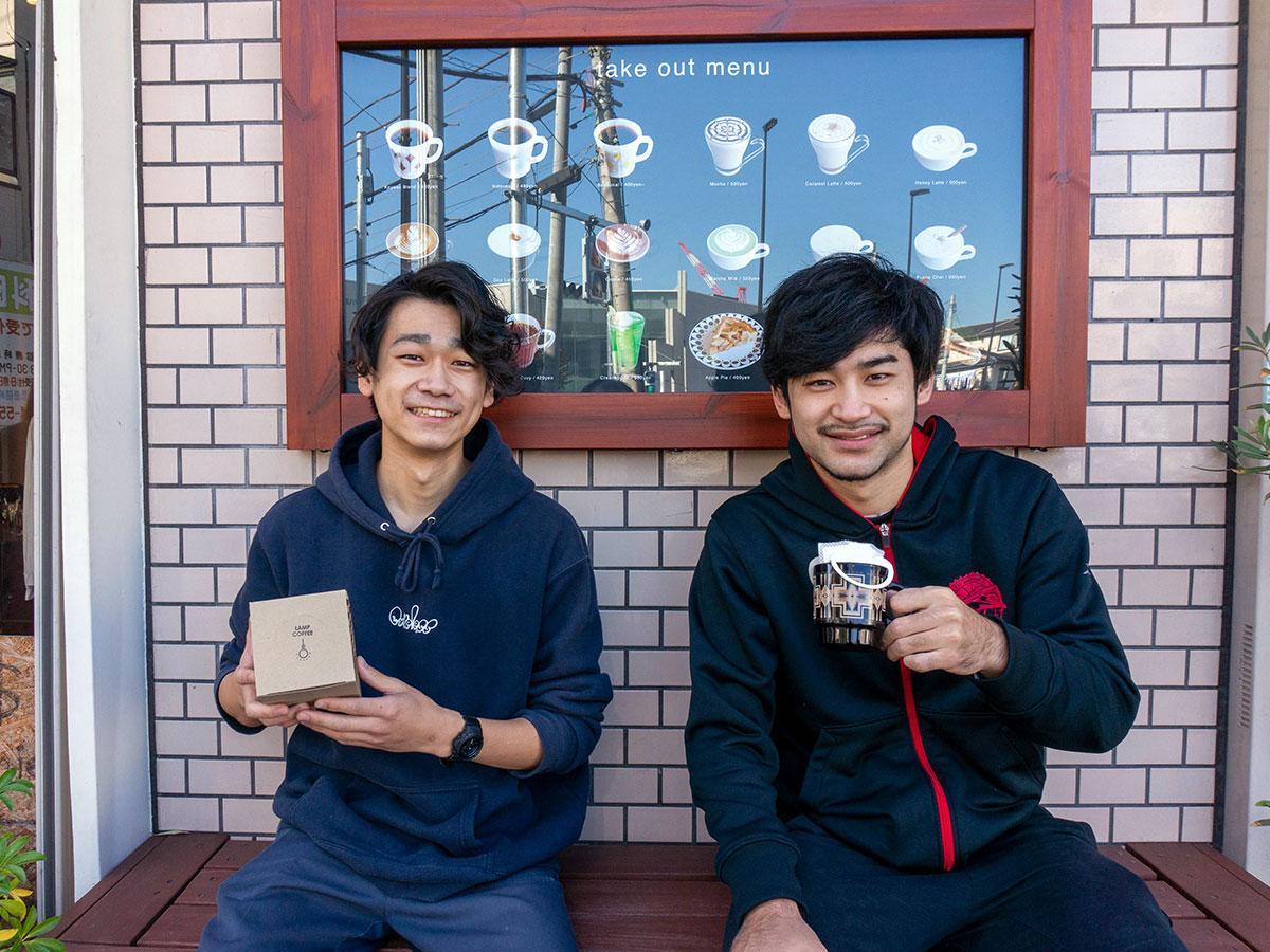 大金選手(写真右)と「LAMP COFFEE」の永井さん