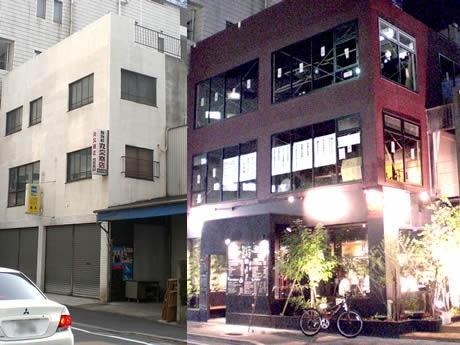 左がリノベーション以前の写真。繁盛店が入る新しい飲食ビルに生まれ変わった。