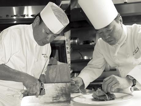 30年近く蕎麦の世界を追求し続ける「むらた」の店主村田隆久さん(左)と、ホテル日航福岡の総料理長を10年務める中橋義幸さん。