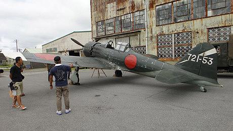12×10メートルのゼロ戦52型原寸大模型(写真=映画撮影時)