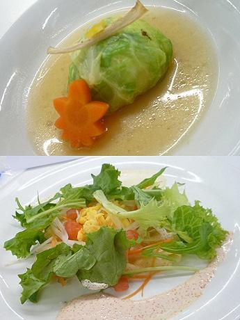「肉じゃが風ロール白菜」(上)と「たっぷり野菜のサラダ風ガレット」