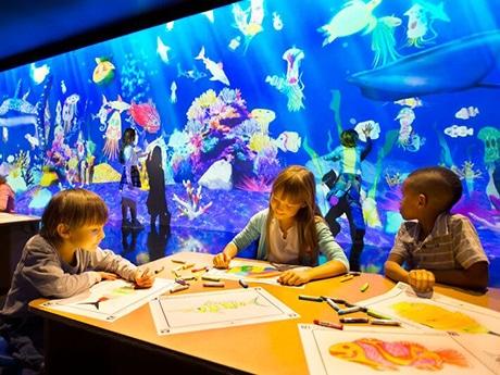 自分で色を塗った魚が泳ぎ出す「お絵かき水族館」イメージ