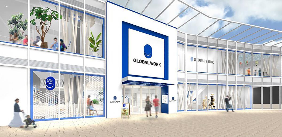 キャナルシティ博多イーストビルの「GLOBAL WORK」がカフェを併設した店舗にリニューアル(外観イメージ)