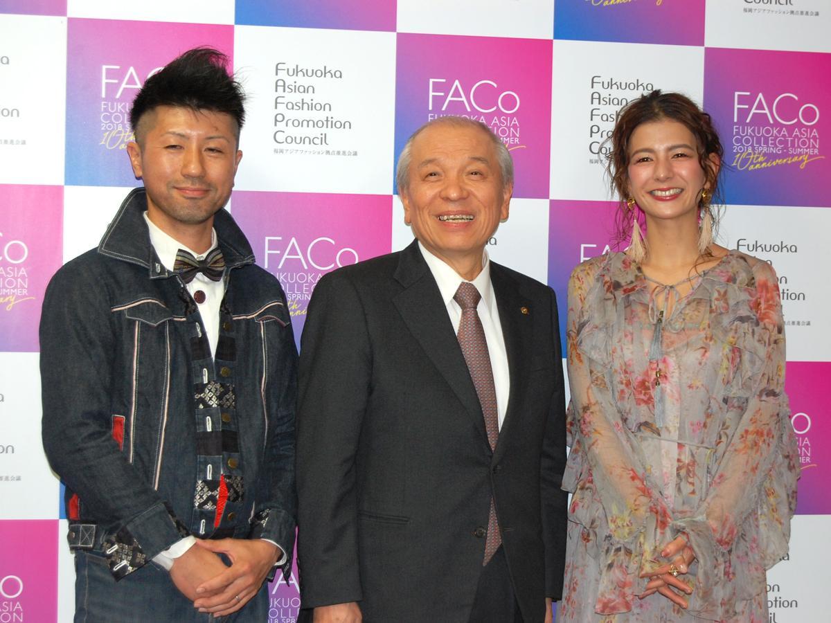 (左から)福岡発ファッションブランド「ALL MY LOVING」デザイナー・天本誠司さん、榎本重孝実行委員長、スザンヌさん