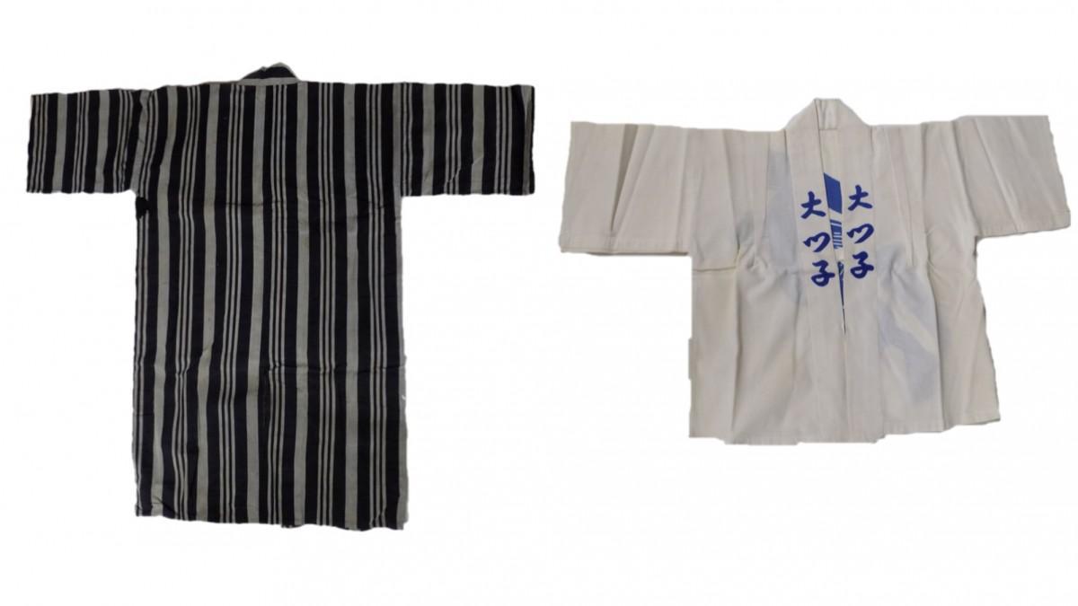 展示予定の「魚町流」(左)と「千代流(旧大津町)」の法被