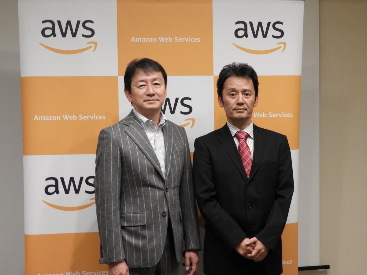 アマゾン ウェブサービス ジャパン トレーニングサービス本部 本部長岩田健一さん(左)と、麻生情報ビジネス専門学校 福岡校 校長代行北原聡さん