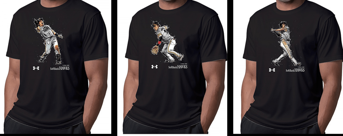 「Dai Tamura Tシャツ」左から松田宣浩選手、今宮健太選手、柳田悠岐選手 ©Softbank HAWKS