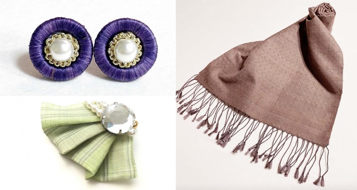 イヤリング(左上)、ブローチ(左下)、スカーフ