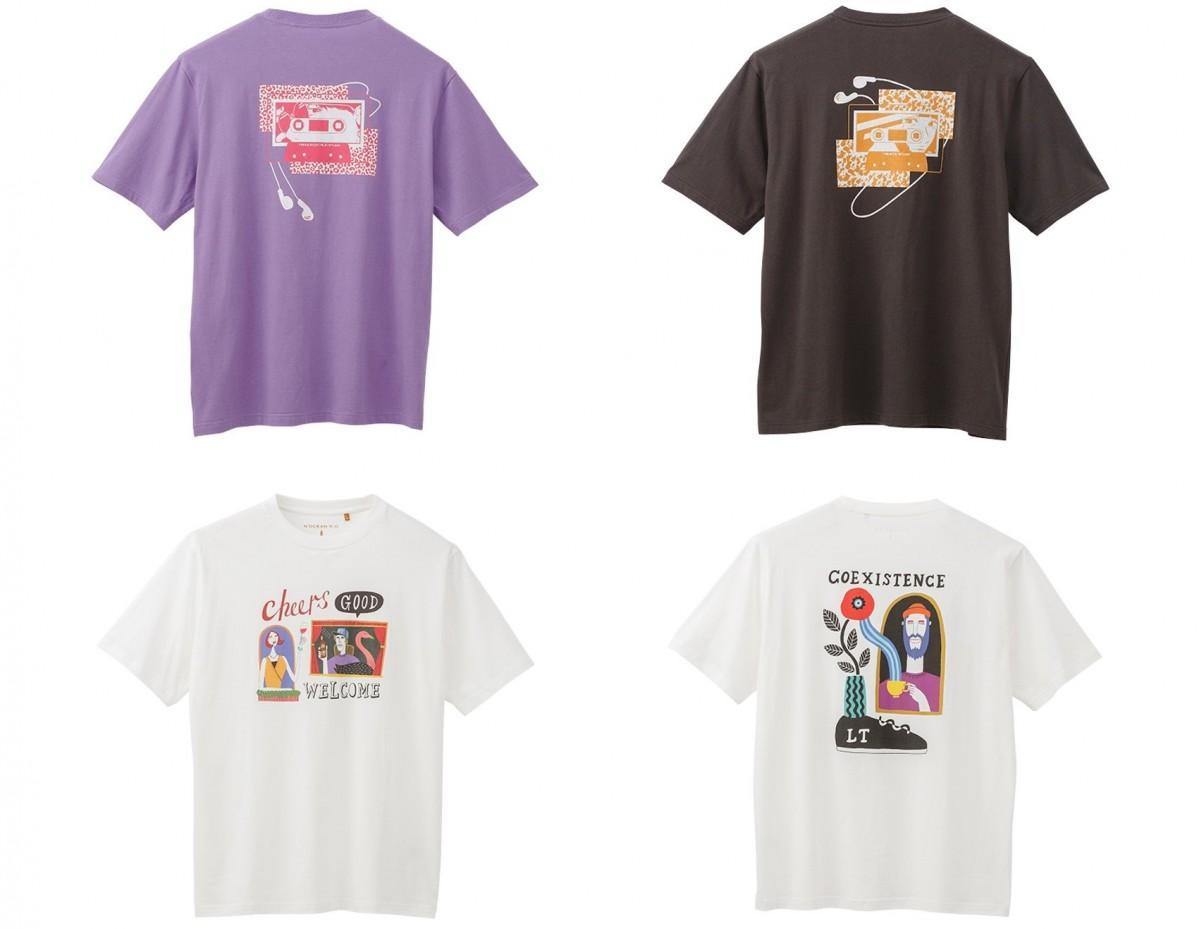 ますだみくさんのTシャツ(上段)とイフクカズヒコさんのTシャツ