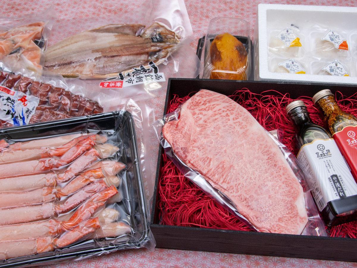 地元の農産物を使ったスイーツと海産物・畜産物を詰め合わせた「三味幸福袋」のイメージ