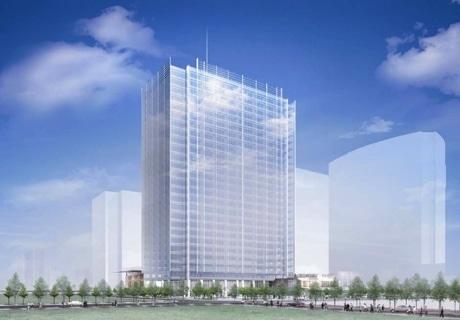 丸紅・三菱商事グループの地上27階、高さ123メートルのビルのイメージパース