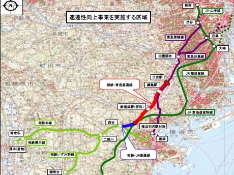相鉄・東急直通線の計画路線図