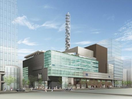 県立新ホールとNHK横浜放送局との合築施設の外観パース