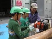 道志村の間伐材でベンチ作りのワークショップーY150会場で使用