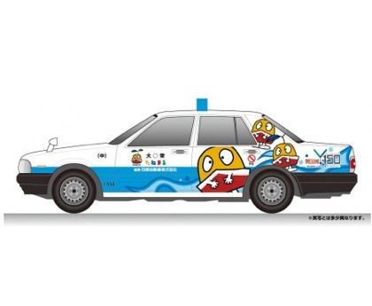 Y150キャラクターをプリントした「たねまるタクシー」