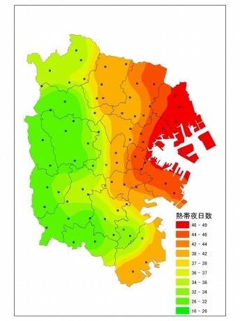 今年の夏のヒートアイランド観測結果「熱帯夜日数分布」