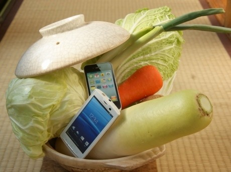 スマートフォンを使った「地産地消鍋パーティー」(イメージ)