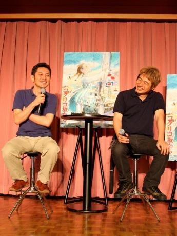 トークショーに登壇した宮崎吾朗監督(写真左)と川上量生ニコニコ動画会長(同右)