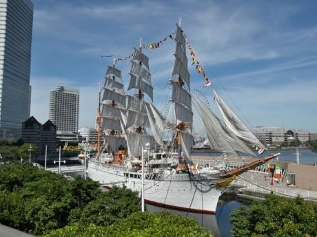 帆船日本丸の「総帆展帆」「満船飾」の様子