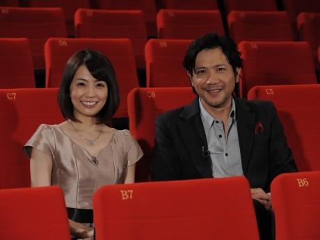 総合司会の小林麻耶さんとショートフィルムプレゼンターの別所哲也さん