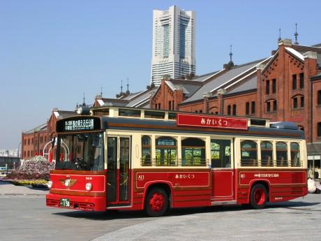 横浜の観光スポット周遊バス「あかいくつ」