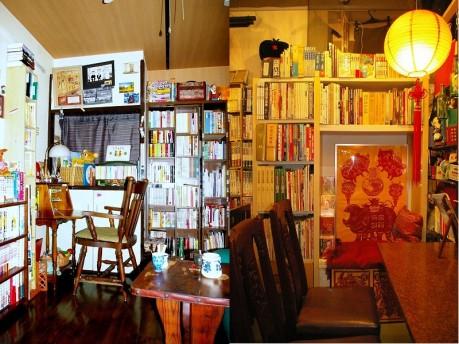 まったり屋店内(左)と関帝堂書店店内(右)