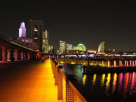 象の鼻パークを中心に横浜ベイエリアがライトアップされる