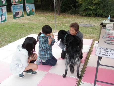 昨年度のイベントで犬の心音を聞く子どもたち