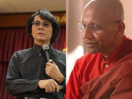 第4セッションに登壇する知能ロボット学者の石黒浩さん(左)とテーラワーダ仏教長老のアルボムッレ・スマナサーラさん