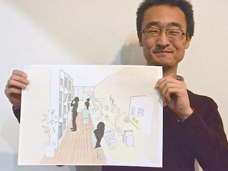 ペアレンティングホーム金沢文庫の書斎のパースを持つ秋山さん